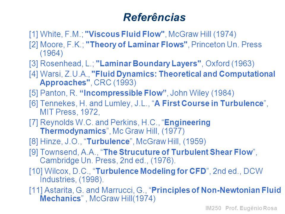 Referências [1] White, F.M.; Viscous Fluid Flow , McGraw Hill (1974)